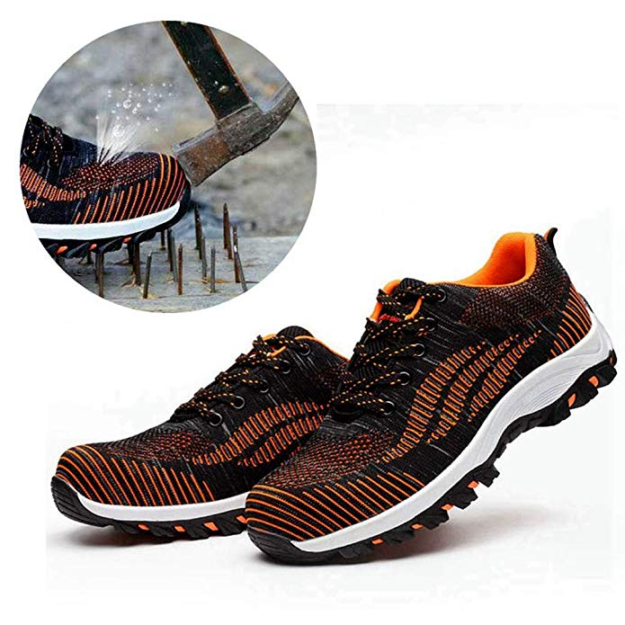 Men/Women Safety Shoes Steel Toe Shoes Slip Resistant Anti-pierce Breathable Mesh Lightweight Industrial Constructions Athletic