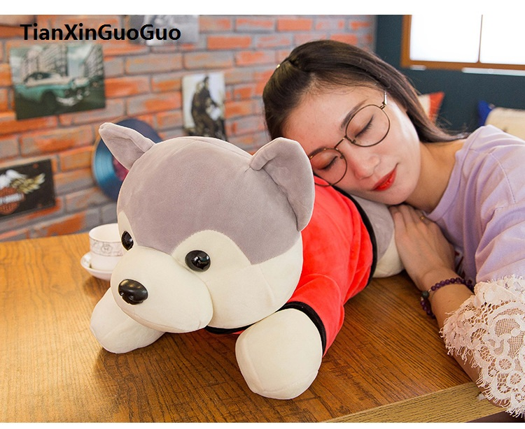 large 55cm dressed cloth cartoon gray prone husky  plush toy soft doll throw pillow birthday gift b2090 cute cartoon ladybird plush toy doll soft throw pillow toy birthday gift h2813