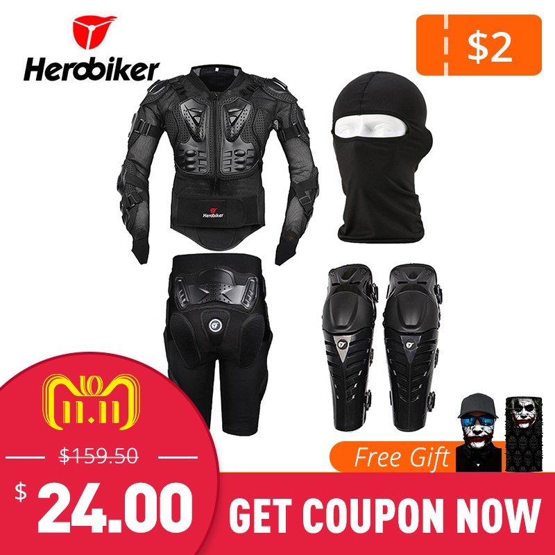 HEROBIKER Moto Amor Corps Protection Motocross Équipement De Protection Racing Full Body Armor + Engrenages Pantalon Court + Moto Genouillère