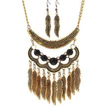 Women Vintage Leaves Tassels Pendant Choker Necklace Hook Earrings Jewelry Set nigerian beads necklace jewelry set indian(China)