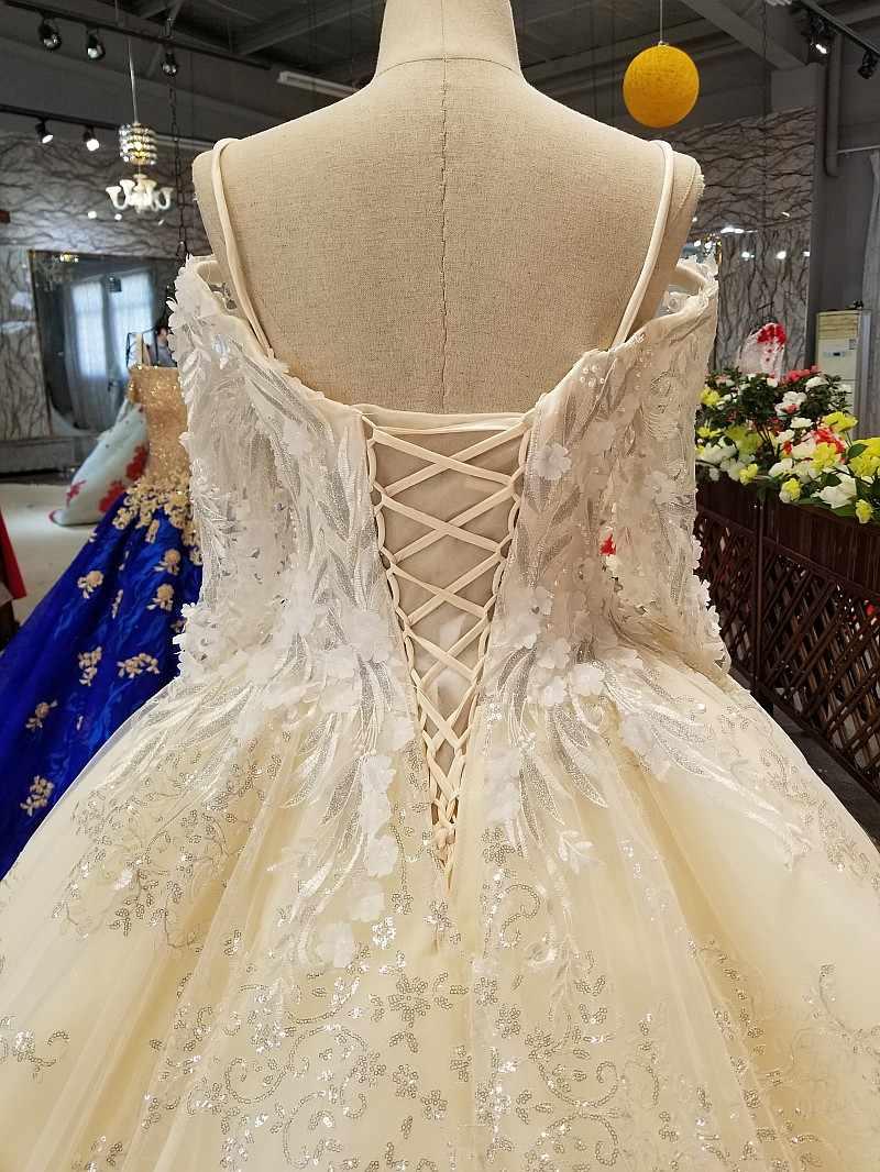LS06541 платье свадьбаДлинные рукава с кружевными цветами нарядное платье 2018 с плеча Милая Блестящие Свадебные торжественное платье с роскошным длинным шлейфом