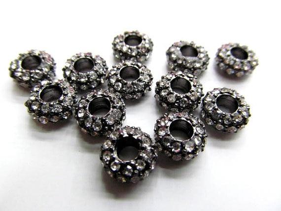 Großhandel 5x12mm 100 stücke rondelle strass kristall perle silber gold gunmetal grau sortiment schmuck perlen