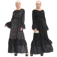 Fashion Muslim Dress Women Moroccan Kaftan Turkish Colorful Sequin Flare sleeve Ramadan Abayas Dubai Islamic Prayer Clothing
