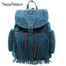 MeiyaShidun Vintage Quaste Frauen Rucksack Ethnischen aushöhlen kordelzug rucksäcke schulranzen Eimer tasche reise Mochila Bolsas