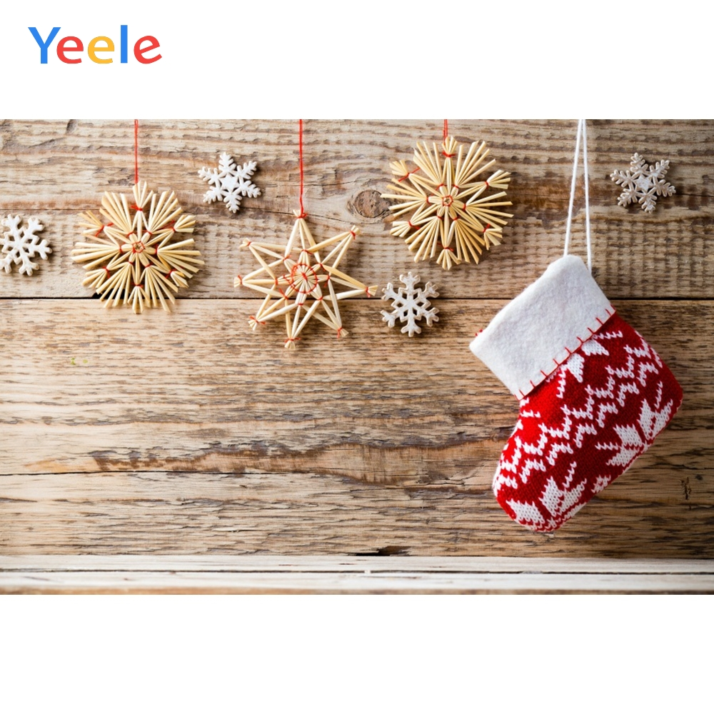 Yeele Christmas Party Photocall Wood Snowflake Sock Photography Backdrop Personalized Photographic Backgrounds For Photo Studio in Background from Consumer Electronics
