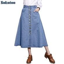 Sokotoo женские случайные кнопки плюс большой размер джинсовые юбки женская теленок длина Строки длинная юбка