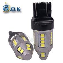 цена на 2x 30W T20 7443 LED 30smd 2835 led W21W Car Brake Reverse Turn Signal DRL Light Car Light Source White light