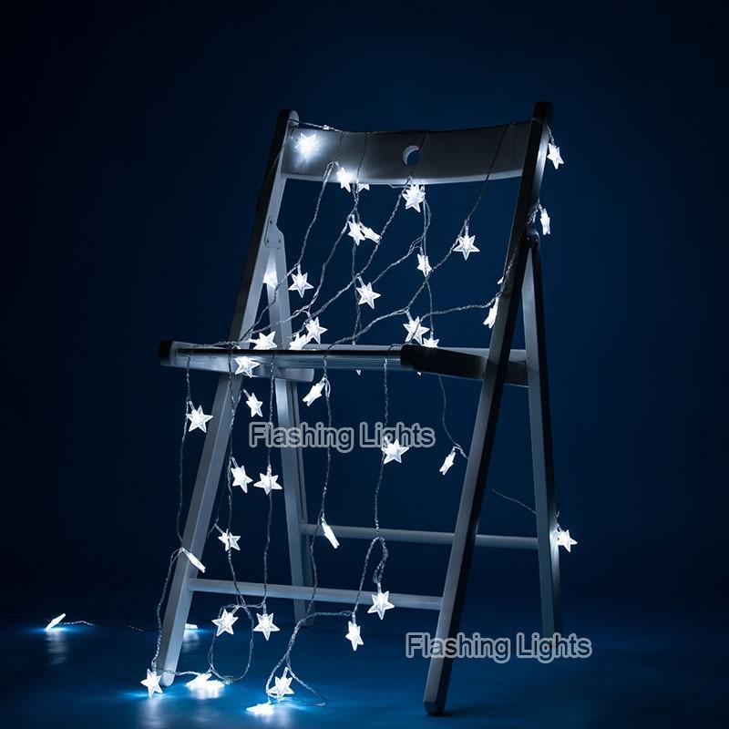 220V / 110V 10M 100Led Frosted Crackle Star Garland String Lights - Pencahayaan perayaan - Foto 3