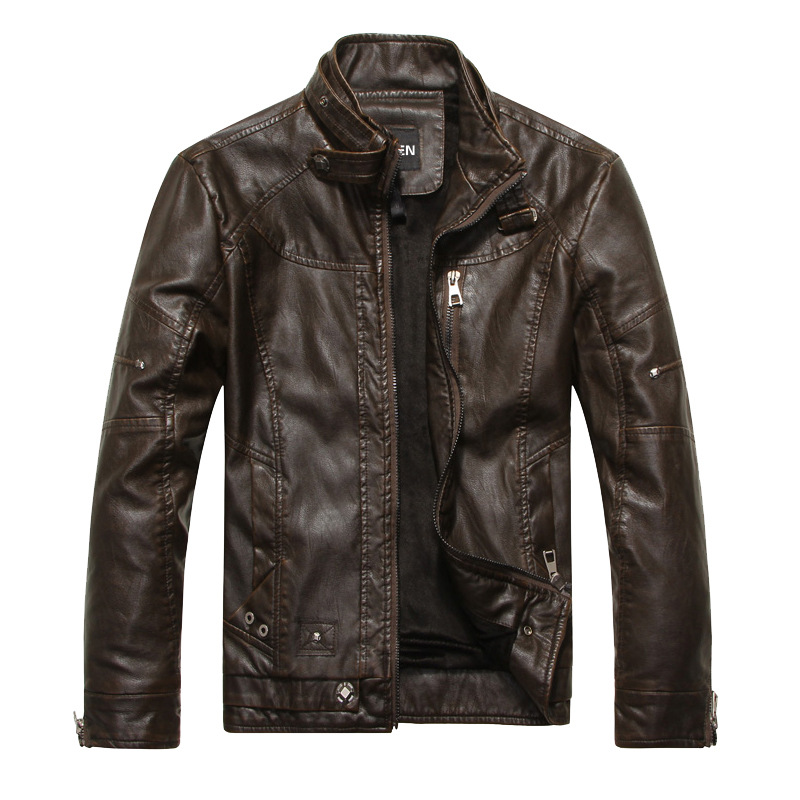 New Mens Leather jacket Autumn Fashion Stand Collar Casual PU Biker Jacket Men leather Bomber Jacket Leater Coats M~3XL
