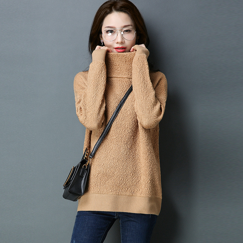 2018 autumn and winter new Korean women sweaters solid color high collar loose self cultivation solid
