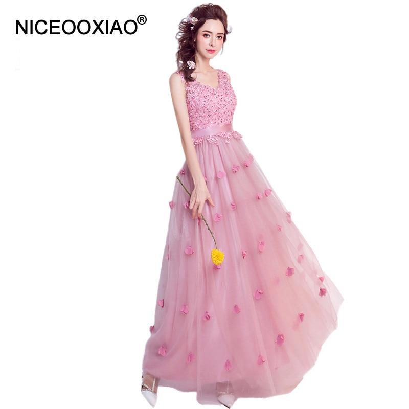 NICEOOXIAO señora Flor Sweet Pink Formal Vestido de Noche Bling ...