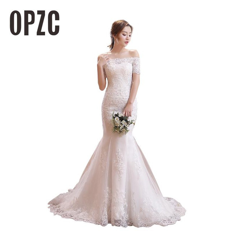 Luxury Sexy Mermaid Train Lace Appliques Half Sleeve Wedding Dress 2018 New Fashion Korean Style A line bride Vestido De Noiva-in Wedding Dresses from Weddings & Events