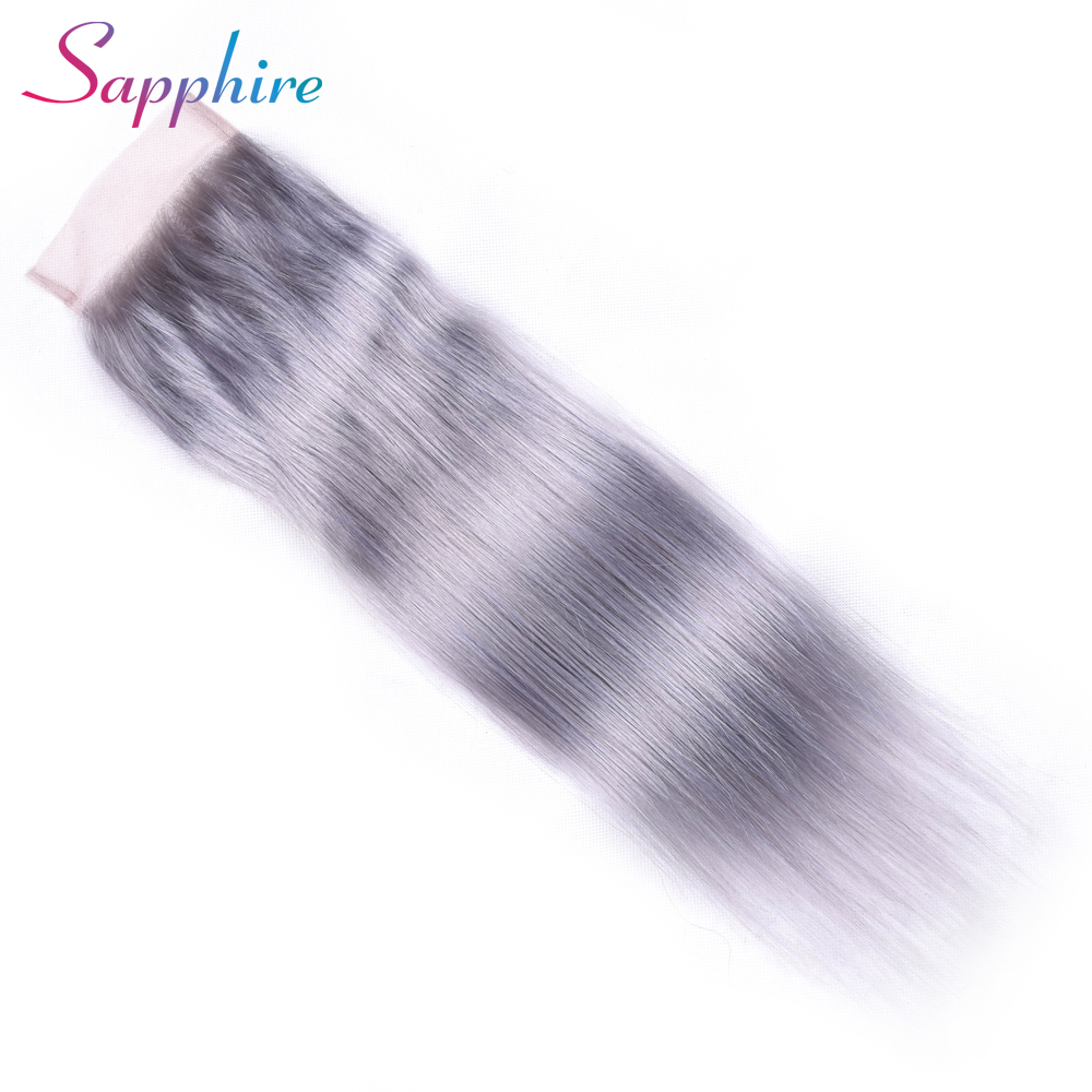 Sapphire Pre-Colored Brazilian Straight Hair Lace Closure Free Part Hair Weave Bundles Non Remy Grey Color Human Hair Bundles