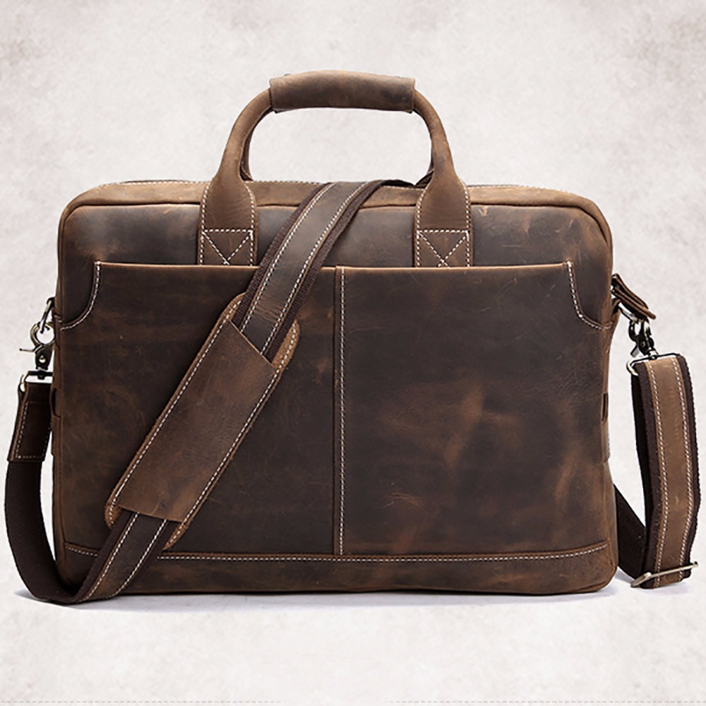 Genuine Leather Crazy Horse Cowhide Computer Tote Handbag Famous Brand Briefcase Messenger Bags Men Business Sling Shoulder Bag crazy horse cowhide men business tote handbag vintage laptop bags briefcase men genuine leather messenger sling shoulder bag