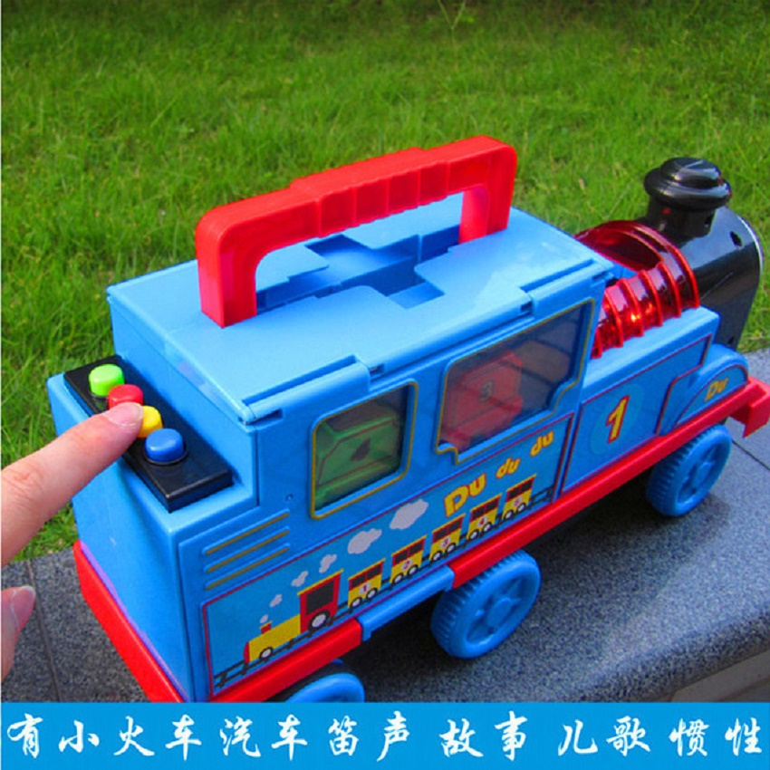 LINTINGHAN Large inertia track small train story music alloy version storage car pull back toy car animation Thomas light sound