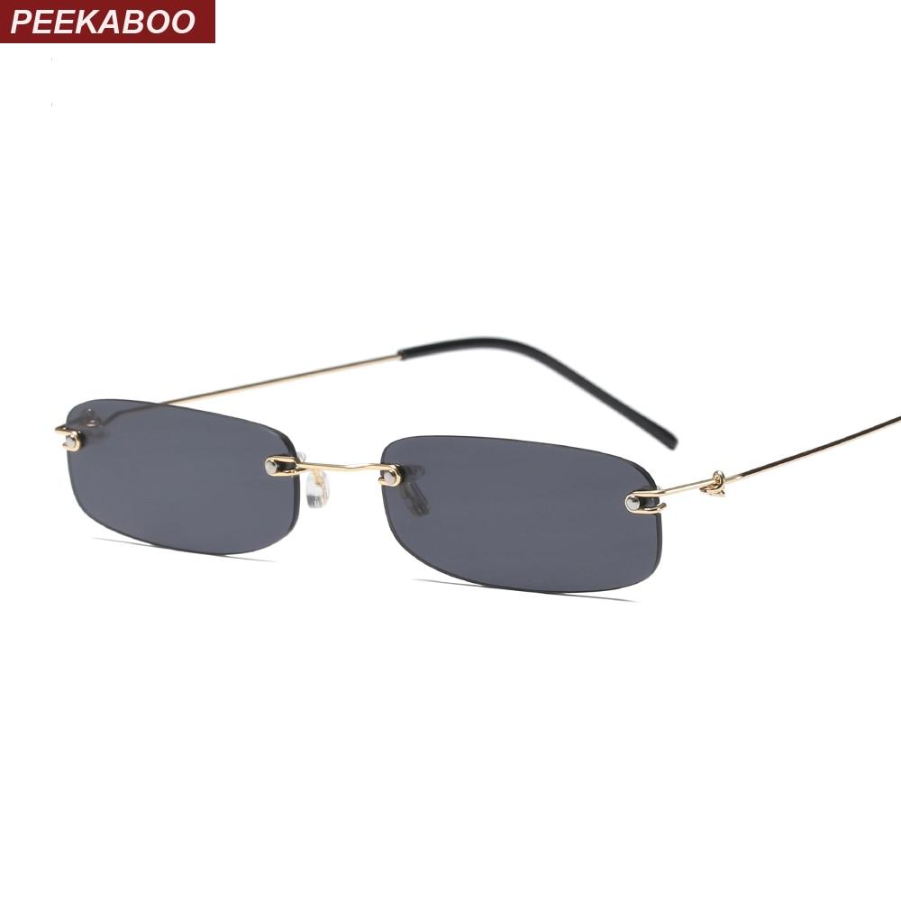 Peekaboo estrecho hombres rimless verano 2018 rojo azul negro rectangular gafas de sol para las mujeres pequeña cara venta caliente