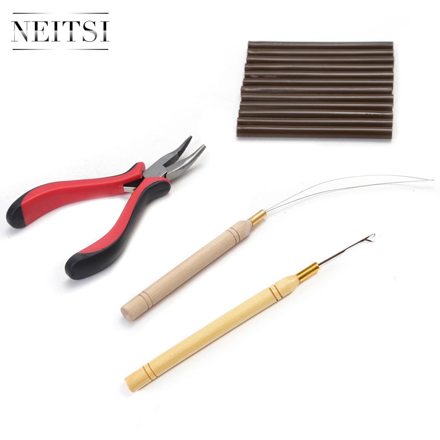 Neitsi High Quality 1pc plier 1pc hook needles 1pc loop puller 12pcs Hotmelt Glue Sticks One Set Hair Tools For Hair Extensions in Glue Sticks from Hair Extensions Wigs