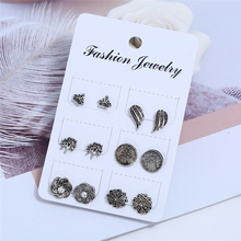 Bohopan Women Silver Color Stud Earrings Set Fashion Crown For Simple Personality Jewelry Accessories