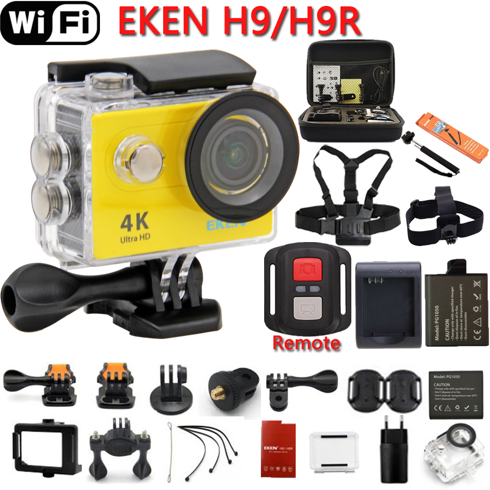 EKEN H9 Action Camera Original H9R Ultra HD 4K 25fps WiFi 2.0 170D lens Helmet Cam pro underwater go waterproof Sport camera battery dual charger bag action camera eken h9 h9r 4k ultra hd sports cam 1080p 60fps 4 k 170d pro waterproof go remote camera