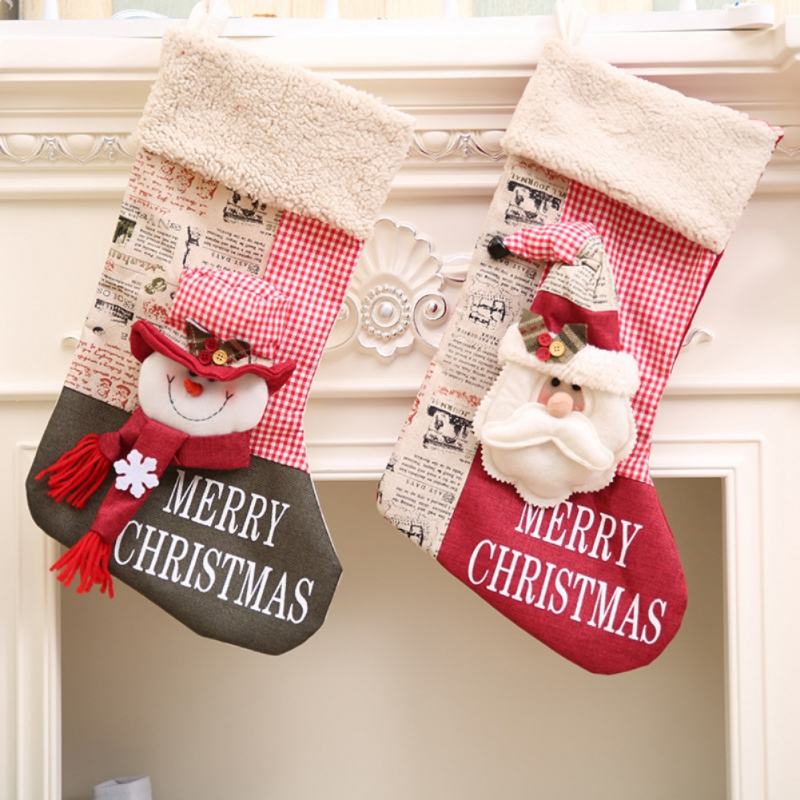 19 Long Extra Large Xmas Lively Christmas Stockings Snowman Socks Tree Decorations In Gift Holders