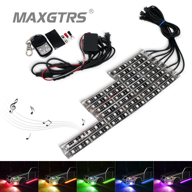 8PCS Motorcycle Car Led Underbody light kit with Wireless Remote Controller RGB Multi Color Neon Glow