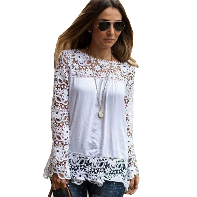 db5cb0dd51a 7XL Plus Size Tops Spring Summer White Blouses Women Shirts Lace Blouse  Chiffon Patchwork Loose Shirt