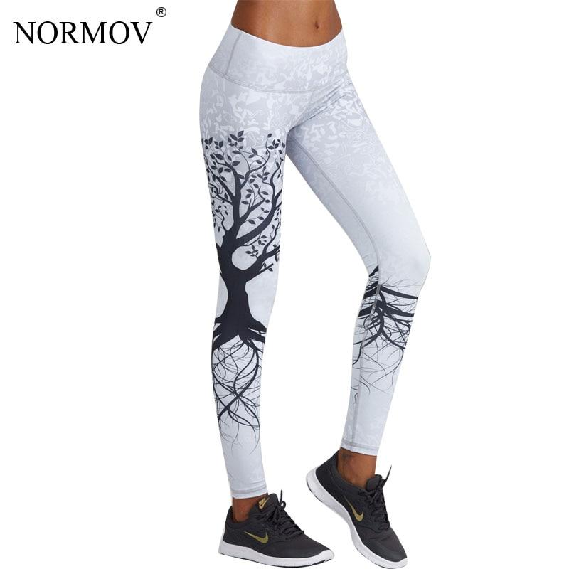 NORMOV Fashion 3D Printed Leggings Women Push Up High Waist Leggings 3D Digital Tree Print Slim Polyester Harajuku Legging XS-L