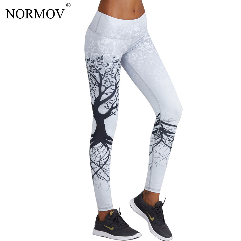 NORMOV Fashion 3D Printed Leggings Women Push Up High Waist Leggings 3D Digital Tree Print Slim Polyester Harajuku Legging XS-L