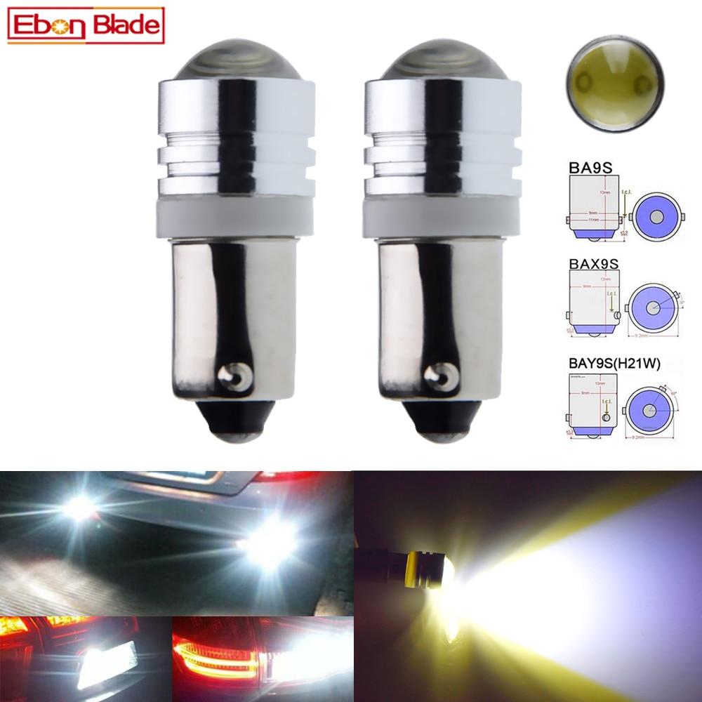 LED Light 5W BAY9s H21W White 5000K Two Bulbs Parking Backup Marker Signal