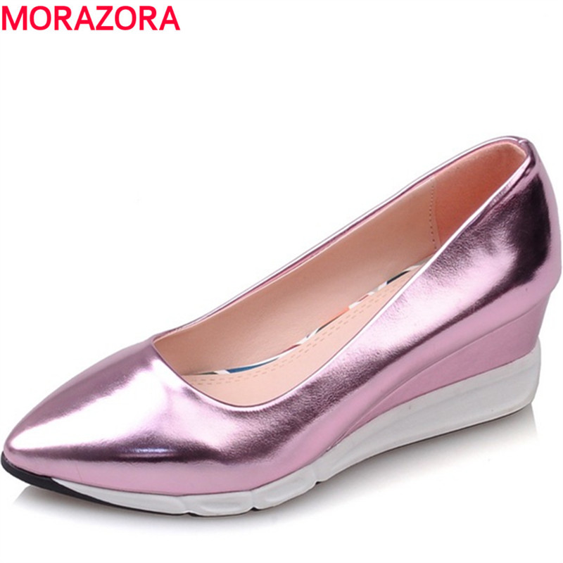 ФОТО MORAZORA Woman shoes 2017 four seasons single shoes high heels 5.5cm wedges shoes sexy women pumps shallow pointed toe