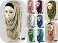 2016 Осень Женщины Шелковый Платок хиджаб Исламская Мусульманский Большой Длинный Жоржет Равнине Негабаритных Макси Шали Шарфы Обруча Бесплатная Доставка