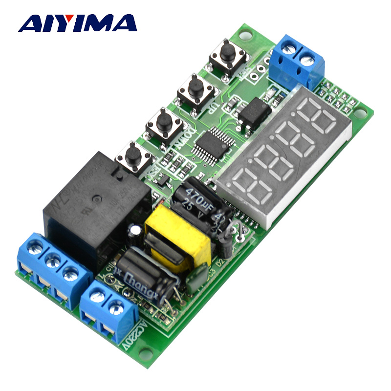 Aiyima Digital AC 220V Multifunction Delay Timing Cycle Timer Relay Trigger Switch Module Solid State Relay 12v timing delay relay module cycle timer digital led dual display 0 999 hours