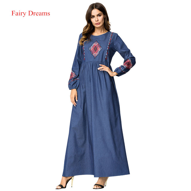 6e719e9bc9 Abayas For Women Embroidery Long Dresses Blue Maxi Muslim Denim Dress Arab  Dubai Islamic Clothing Ladies Plus Size Fashion Robe