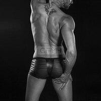 2017 Nova Lingerie Sexy Homem Boxer Tronco de couro malha de Rede Transparente Underwear Calções Dos Homens Para homens Lingerie Sexy Gay calças
