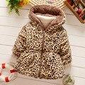 Roupas para crianças meninas outono inverno leopardo de lã no inverno para manter quente espessamento de algodão-acolchoado do revestimento do revestimento de as meninas