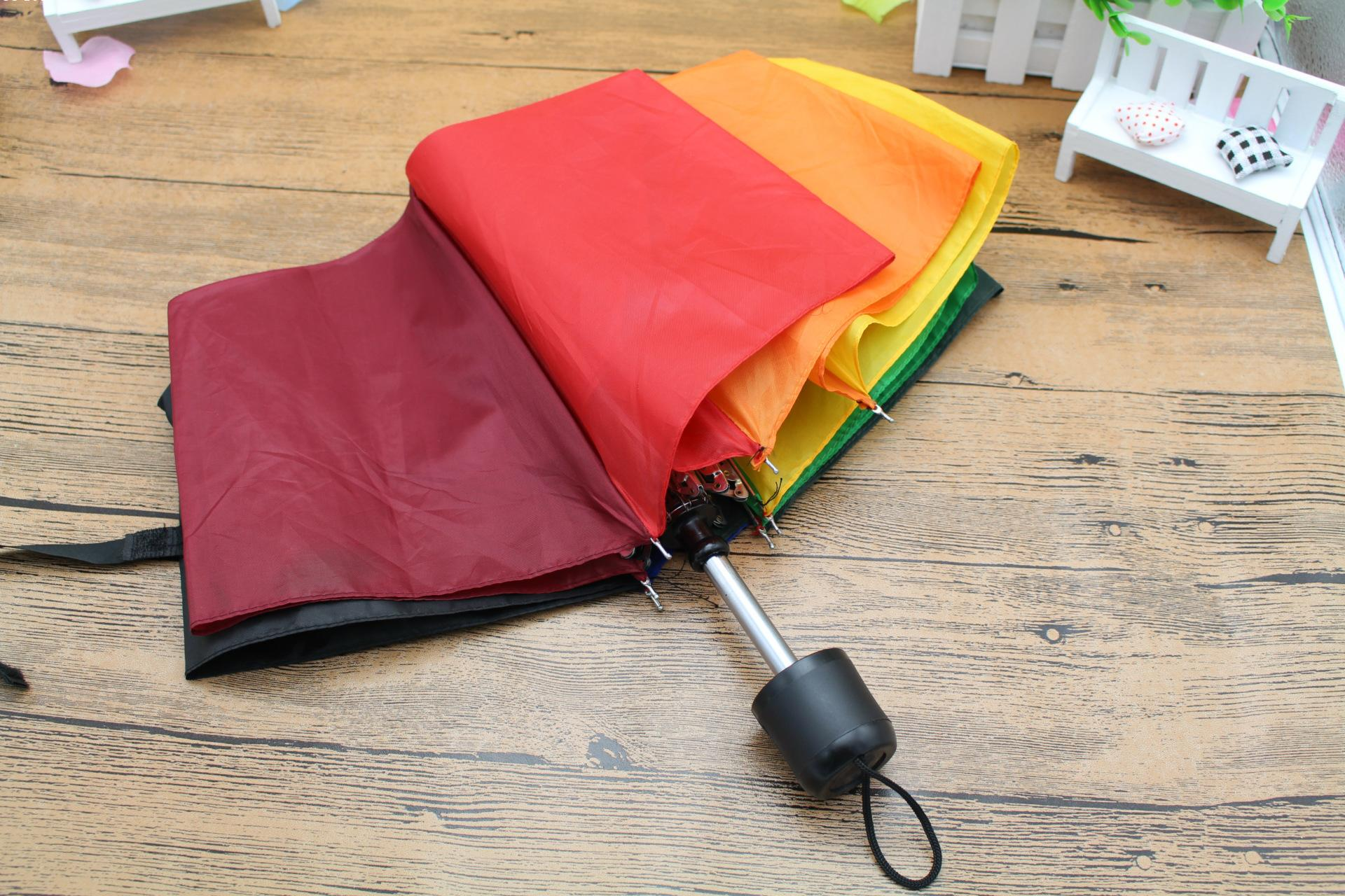 Fashion-Parasol-Rainbow-Umbrella-Handle-Straight-Colorful-Umbrella-Female-Sunny-And-Rainy-Umbrella Unique De Promo Parasol Schème