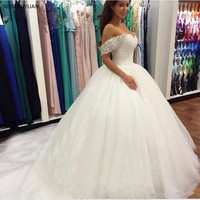 Beaded Off Shoulder Ball Gown Wedding Dresses with Court Train Lace Up Wedding Gowns White Ivory Bride Dress Vestido De Noiva
