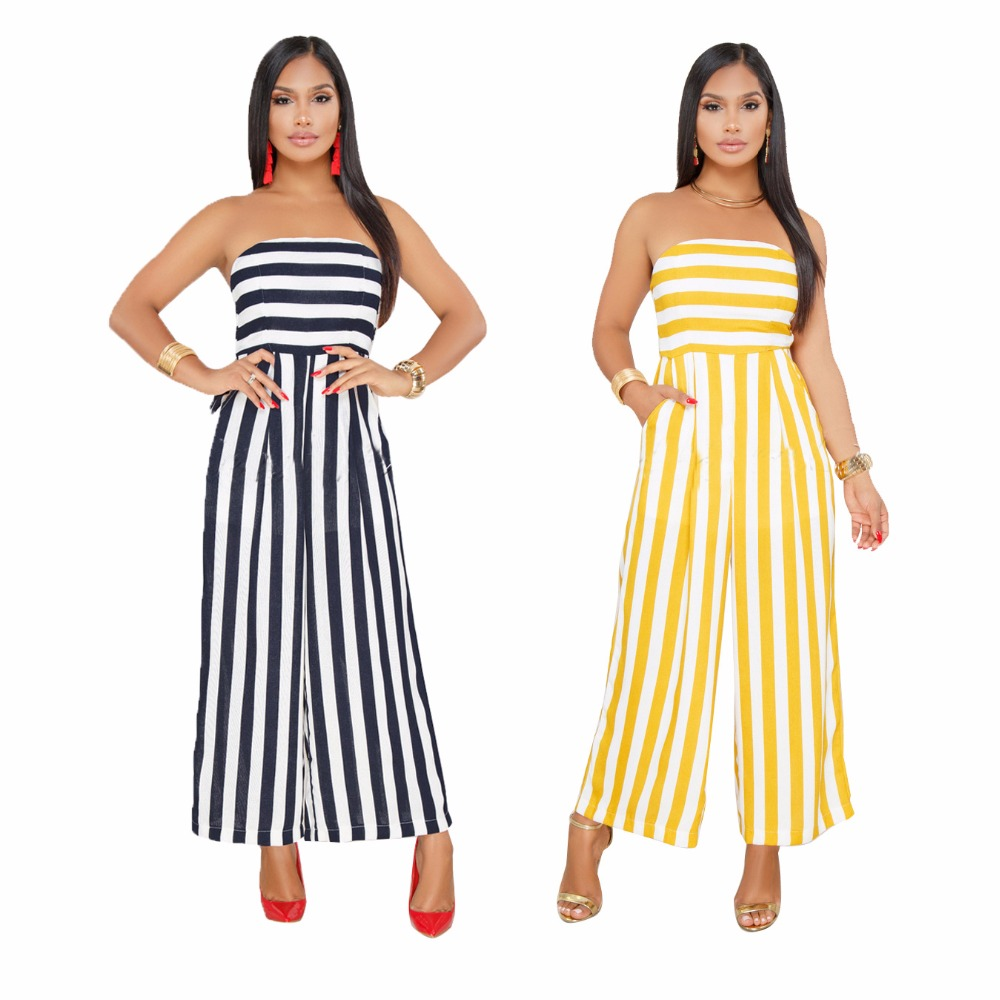 Summer Stripe Tube rompers womens   jumpsuit   Plus size   jumpsuits   for women 2019