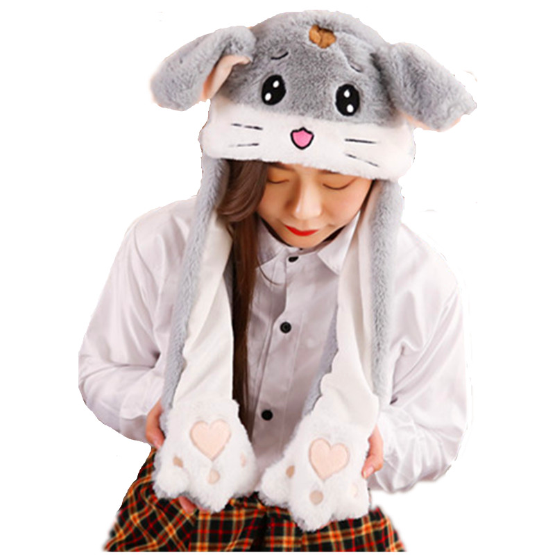 Field Mouse white Cartoon Animal Plush Dynamic Hat Children's Winter Warm Cap Combined Scarf and Glove