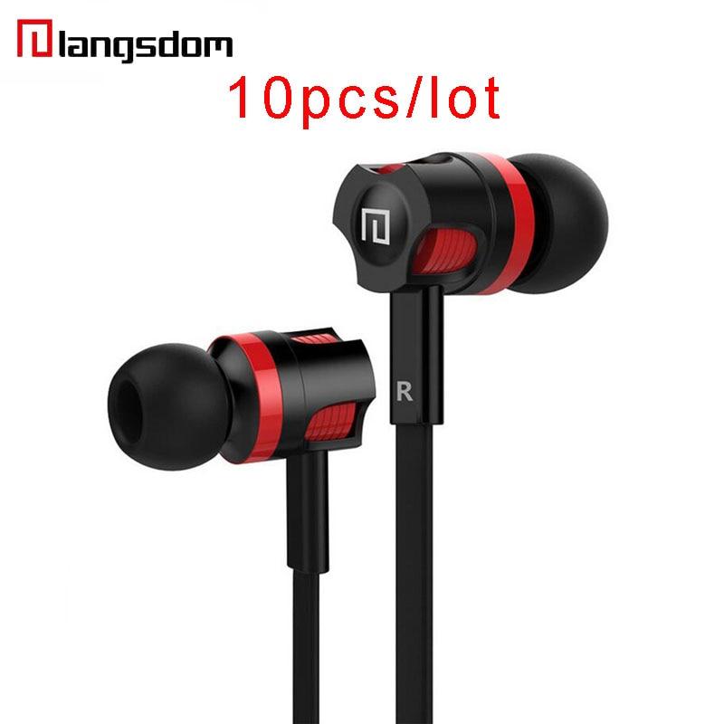 Wholesale 10pcs/lot Langsdom JM26 Earphone 3.5mm Noodles Wired Earphone With Mic Wire Control In-ear Earphone Music Earphones wholesale 10 pcs lot 3 5mm in ear earphones earbuds with mic