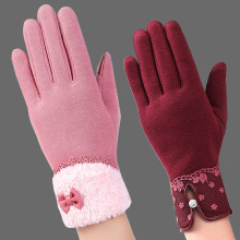 Фотография Fashion Gloves Women Winter Fleece Fabric Warm Mittens Outdoor Touch Screen Gloves Guantes Manoplas Mujer Lady New Accessories