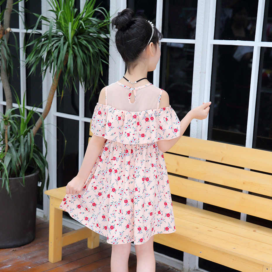5060b247e65f ... Summer Dresses For Girls Off Shoulder Floral Dresses For Teenager Mesh Kids  Dresses Teenage Clothing For ...