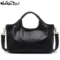 NIGEDU Brand Luxury Genuine Leather Bags For Women Handbag Green Female Hobos Shoulder Bag Totes Ladies