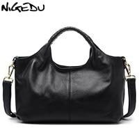 NIGEDU Brand Luxury Genuine Leather Bags For Women Handbag Green Female Hobos Shoulder Bag Totes Ladies
