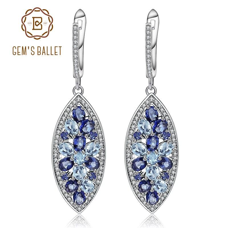 Gem s Ballet Fashion Natural Mystic Quartz Iolite Blue Gemstone Earrings 925 Sterling Silver Drop Earrings