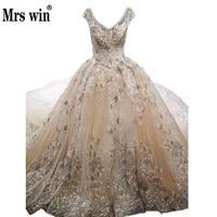 Gorgeous High End Bridal Dresses Deep-v Ngọc Trai Beading Đường Viền Cổ Áo Thêu Champagne Royal Train Robe De Mariee Grande Taille C
