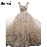 Gorgeous High End Bridal Dresses Deep v Pearl Beading Neckline Embroidery Champagne Royal Train Robe De Mariee Grande Taille C