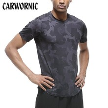 CARWORNIC Summer Fitness Gyms T-shirt Men Workout Muscle Bodybuilding Shirts O-neck Printed Short Sleeves Clothing Tee Tops