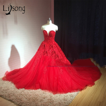Lisong Middel East Red Prom Dresses 2018 Ball Gowns