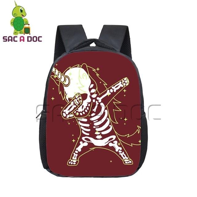 Funny Unicorn Backpack Boys Girls Dabbing Unicorn Skull School Backpacks  Children Primary Kindergarten Bag Hiphop Backpacks a047cf98189a2